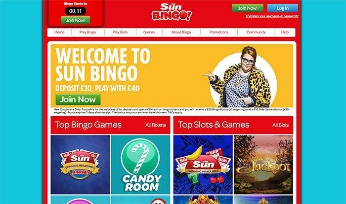 sun bingo login
