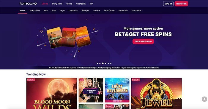 party casino homepage
