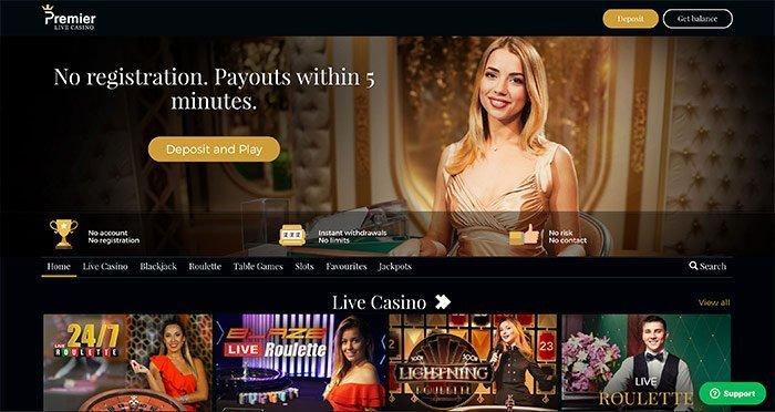 homepage premier live casino
