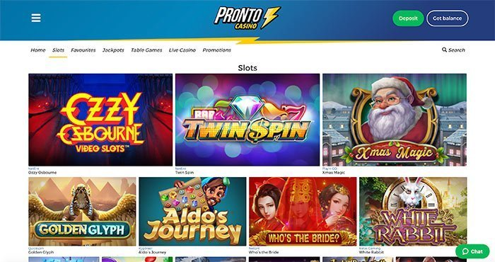 pronto casino homepage